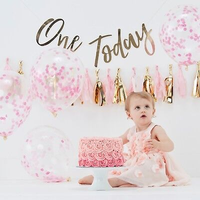 Baby Girls Pink & Gold 1st First Birthday Cake Smash Kit Photo Prop Decorations