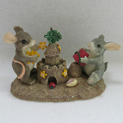 Charming Tails Building Castles 83802 Fitz Floyd Sandcastle Bunny Mouse in Box