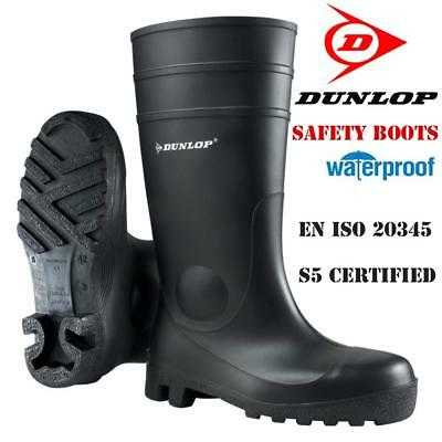 Mens Ladies Dunlop Safety Wellingtons Wellies Rain Mucker Steel Toe Caps Boots
