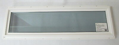 "Transom Window 10"" x 36"" Double Pane Low-E Tempered Glass PVC Frame"