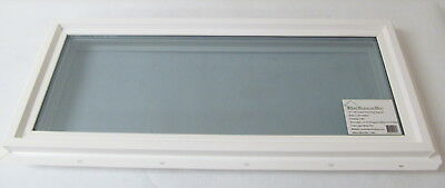 "Transom Window 12"" x 30"" Double Pane Low-E Tempered Glass PVC Frame"