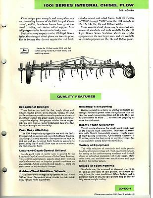 John Deere 1001 Series Integral Chisel Plow Sales Manual / Brochure 1966 8113E