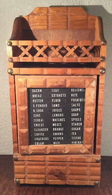 Vintage Wooden Wall Mount Hanging Spice Rack Chalk Board Grocery List, s0