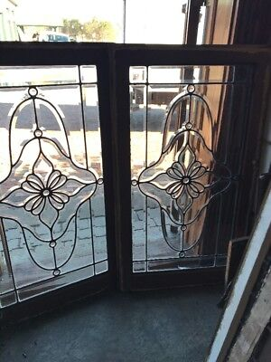 Sg1784 Match Pair All Beveled Glass Floral Jeweled Windows 22.5 X 39.5