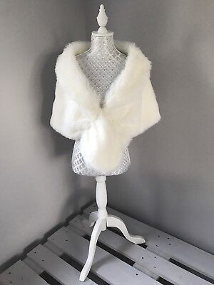 Ivory Faux Fur Fox Cape Shrug Stole Bolero Jacket Shawl Wrap Wedding Bridal