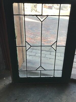 Sg1791 Antique Stained Glass Beveled Y Squared Window 21 X 28.5