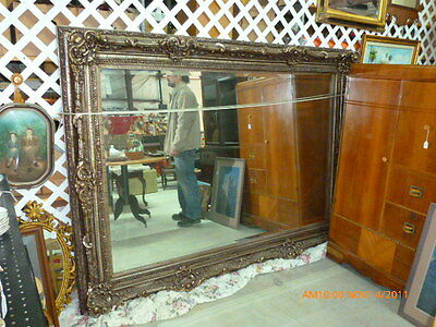 XL Ornate French Provincial Rococo Giltwood Antique Vintage Wall Mirror Beveled