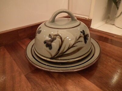 Highland Stoneware Celadon Floral Pattern Round Cheese Dish / Dome