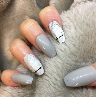False Fake Nails White Grey Marble