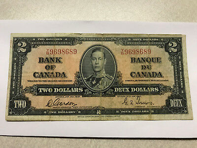 1937 Canada 2 Dollar Note Fine Folds #145