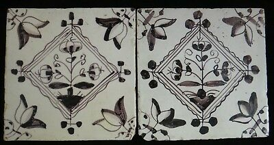 "Pair rare Dutch Delft Tile with purple floral design, 18th cent. Approx. 5"" sq."