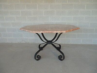 "Vintage Spanish Style Heavy Wrought Iron Base Octagonal Marble Top Table 50""W"