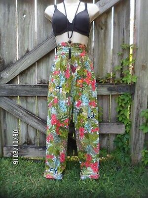 Rare Hollywood Cool True Vintage High Waisted Tropical Print Pants ~ Just Fab