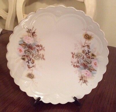 ANTIQUE Embossed  PLATE ~ Pink and Blue FLORAL Small Bouquets ~ CHIC ~8 inches