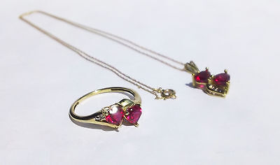 10K Gold Sts Synthetic Ruby Diamonds Hearts Pendant Necklace Ring Sweetheart Set
