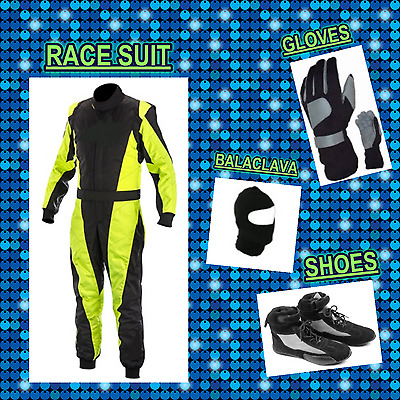 Go Kart Race suit (includes Suit,Gloves,Balaclava & Shoes)free bag- yellow black