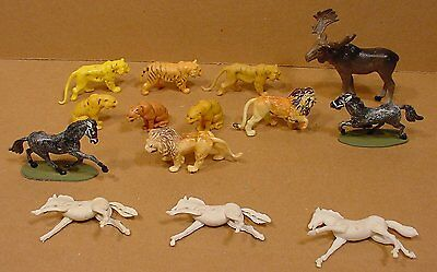 14 Vintage Plastic Toy Animals Moose Lions Tigers Horses