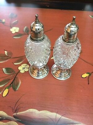 Sterling Silver and Crystal Salt/Pepper Shakers - Vintage - Sheffield Silver Co.