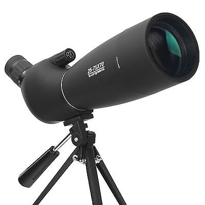 25-75X70 Spotting Scope Monocular Telescope BAK7 HD Prism Waterproof With Tripod