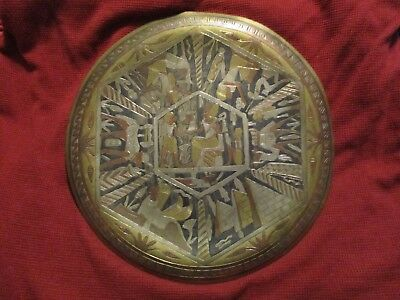 Vintage Egyptian Engraved Tin Copper Brass Wall Hanging Plate