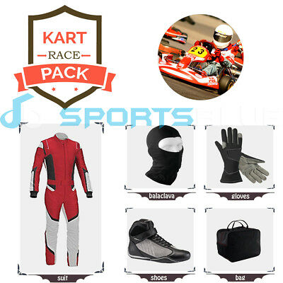 Go Kart Race suit (includes Suit, Gloves, Balaclava & Shoes) free bag - Red