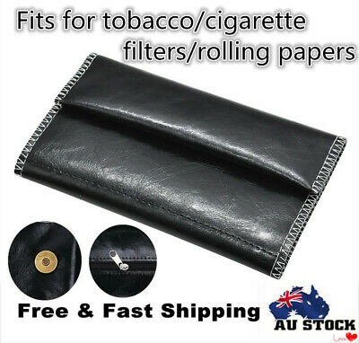 Black Cigarette Tobacco Pouch Leather Bag Wallet Case Holder Rolling Paper Gift