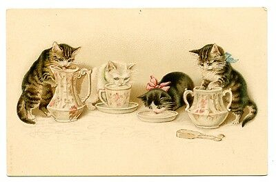 vintage cat postcard Maguire tabby cats drink from pink teaset jug teapot cups