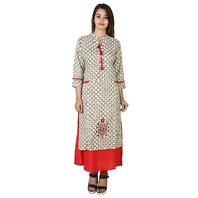 Indian Pakistani S to XXL Cotton Long Designer Kurti Kurta Dress Women Top Tunic