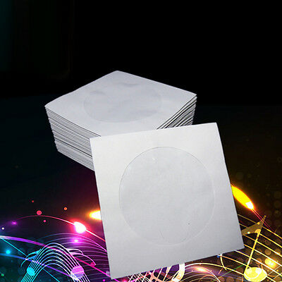 100pcs Mini CD/DVD Paper Envelope Sleeves Cover Case with Clear Window 3inch  US