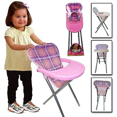 Girls Baby Doll Role Play Pink Feedinf High Chair Folding Toy Ideal Gift For Kid