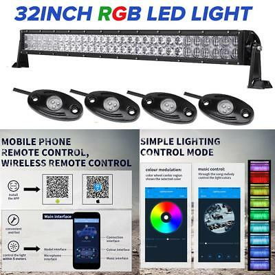 """5D 32"""" 600W RGB LED Light Bar Rock Pods Halo Ring 4WD Truck For JEEP Wrangler JL"""