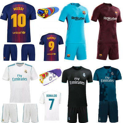 17-18 Football Soccer Short Sleeve Kit Kids Boy Girl Sport Club Suit Shirt+Socks