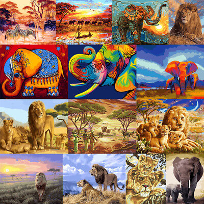 "40*50"" Elephant  Animals Paint By Number Kit DIY Acrylic Oil Painting Wall Decor"