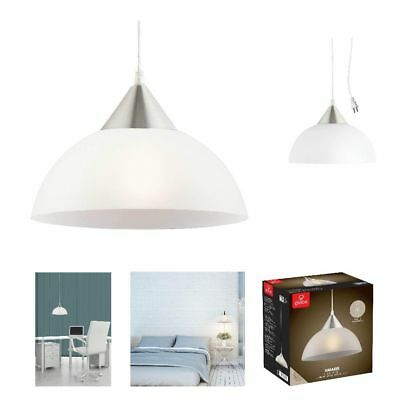 1-Light Portable Hanging Plug-In Pendant White Shade Swag Hooks Ceiling Lamp
