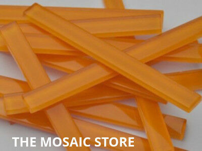 Orange Crystal Glass Mosaic Tile Strips 10x98x4mm - Art & Craft Supplies