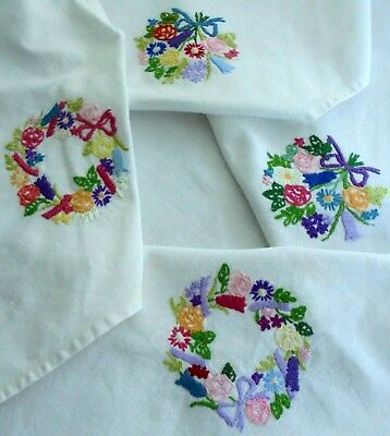 Beautiful compact hand embroidered tablecloth Floral garlands & ribbons bows