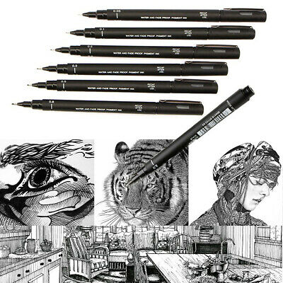 Set of 6 Uni Ball Pin Pigment Micron Fineliner Drawing Pen Black Archival Ink