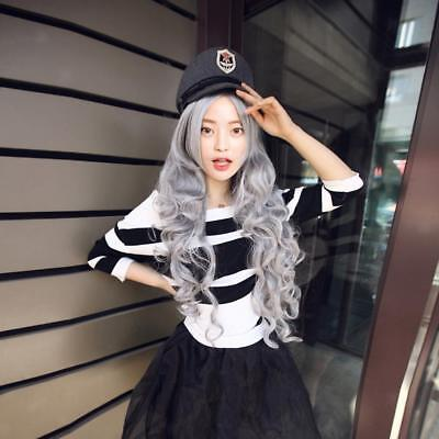 Fashion Grey Long Curly Anime Wig Cosplay Party Wavy Wig Heat Resistant 80cm