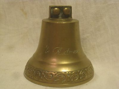 "vintage bell ornate brass Sweden Swedish bell engraved "" s/s Astrea "" ring ding"