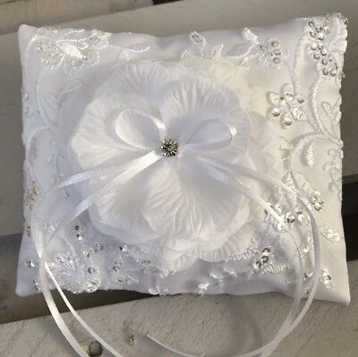 FAB White Wedding Ring Cushion Bearer Pillow Sparkly Floral LACE Diamanté GLAM