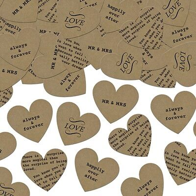 Craft Paper Hearts Table Confetti with Romantic Words ~ Wedding Table Sprinkles