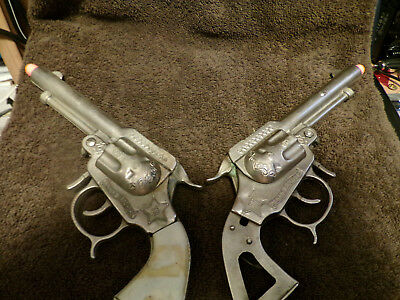 "Vintage ""Texas Ranger"" Dueling Cap Pistols with Belt and Holster (Two bullets)"