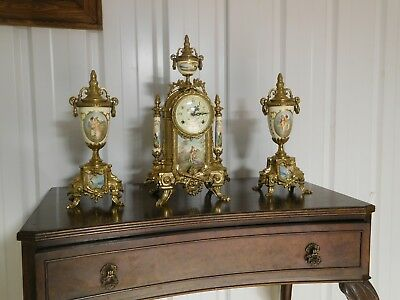 3 Piece Clock & Candelabra Set Brass Hand Painted Porcelain Art Italian Antique