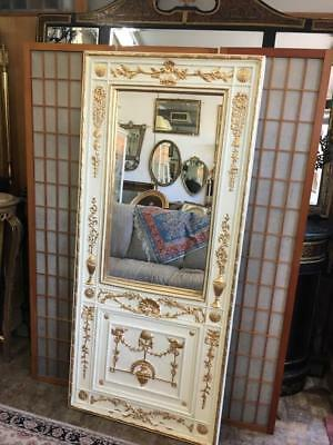 Antique French Louis Style Gilt , Carved And Painted Large Trumeau Mirror