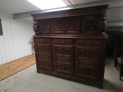 Magnificent Large Antique 19th Century French Carved Oak Court Cabinet Credenza