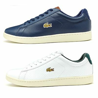 Lacoste Carnaby EVO 317 SPM Leather Trainers in White & Blue