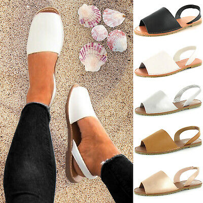 Ladies Womens Plain Summer Beach Slingback Flat Plain Open Toe Menorcan Sandals