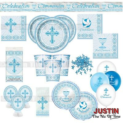CHRISTENING FIRST COMMUNION Holy Blue Cross Boy Party Tableware Supplies