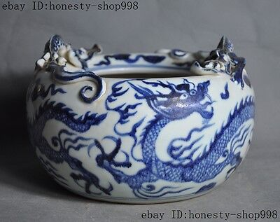 "9""Old Chinese dynasty Blue and white porcelain glaze dragon beast pot jar Crock"