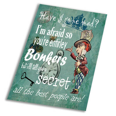 Alice In Wonderland Bonkers Quote 2 Poster Art Print A0 A1 A2 A3 A4 A5 Maxi